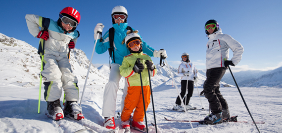 Slideshow Image of a family skiing